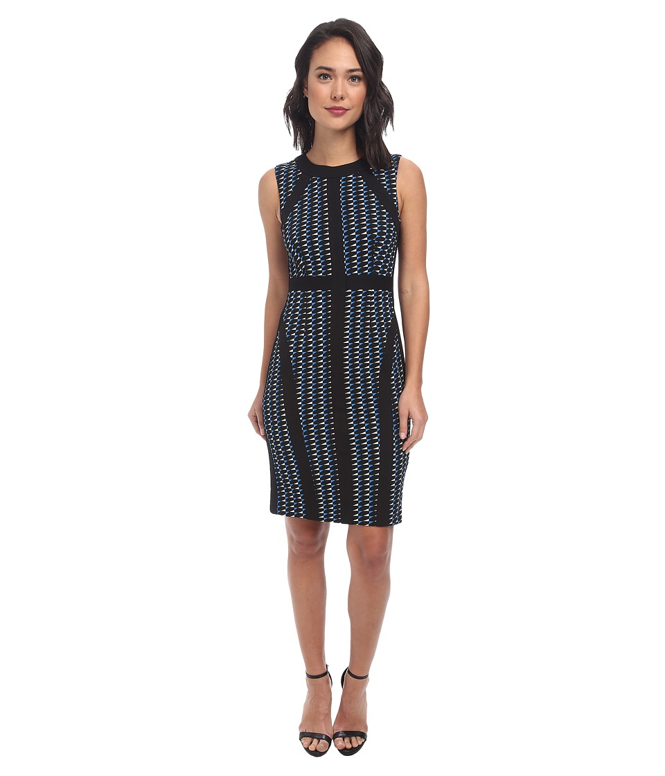 Donna Morgan - Sleeveless Pique Bodycon with Piping Dress (Black/Blue) Women