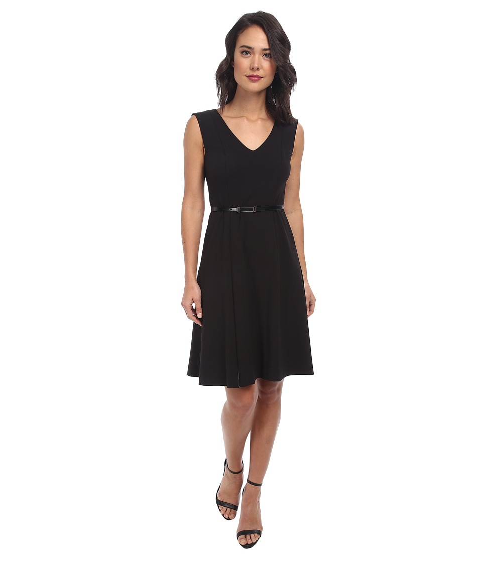 Donna Morgan - Sleeveless Crepe V-Neck Dress (Black/Whitecap Grey) Women's Dress