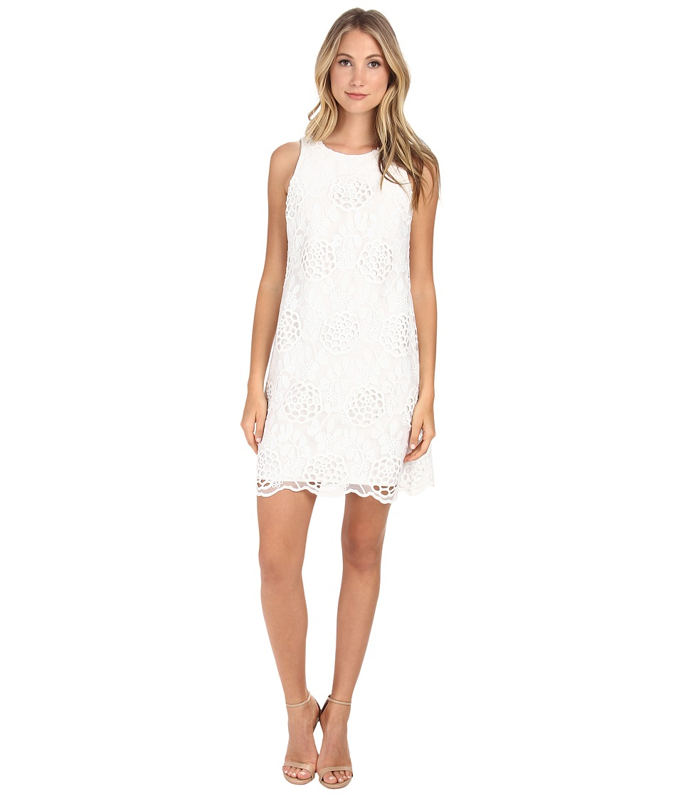 Donna Morgan - Embroidered A-Line Trapeze Dress (White) Women's Dress