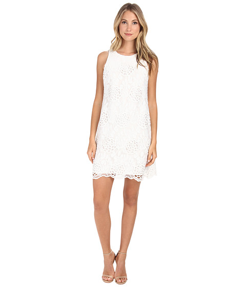 Donna Morgan - Embroidered A-Line Trapeze Dress (White) Women