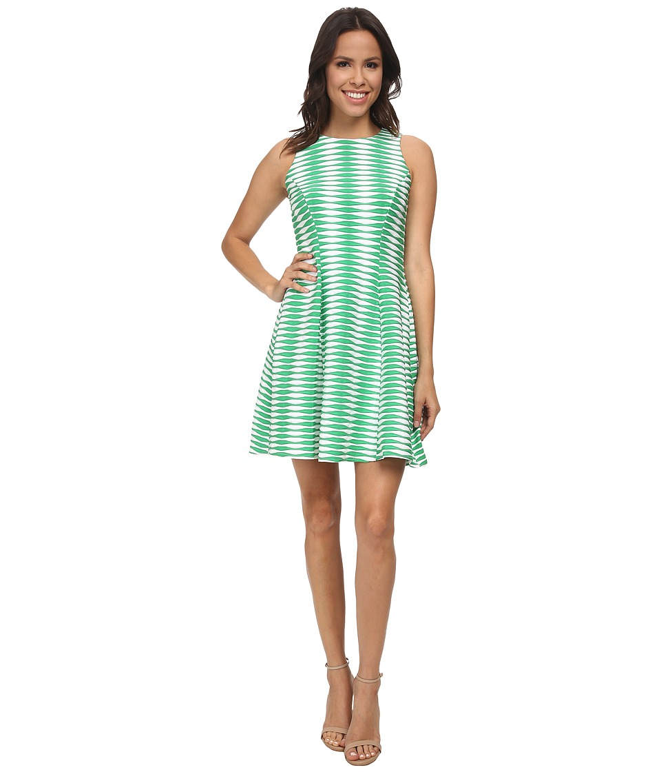 Donna Morgan - Sleeveless Wavy Knit Fit and Flare (Green With Envy) Women's Dress
