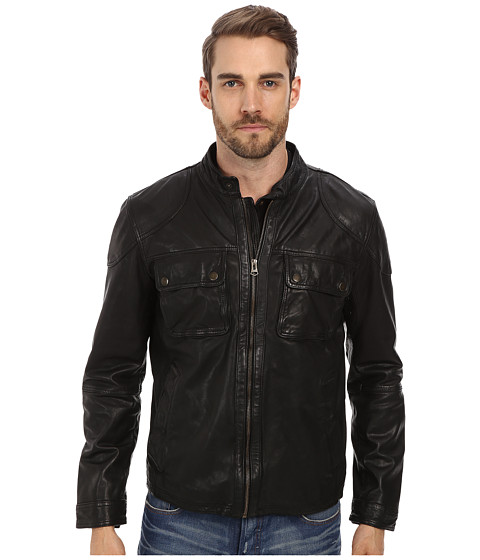 Cole Haan - Washed Lamb Moto Jacket with Custom Camo Printed Lining (Black) Men's Coat