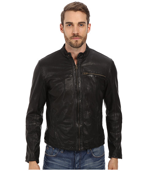 Cole Haan - Washed Lamb Moto Jacket with Perforated Lather Panels (Black) Men's Coat
