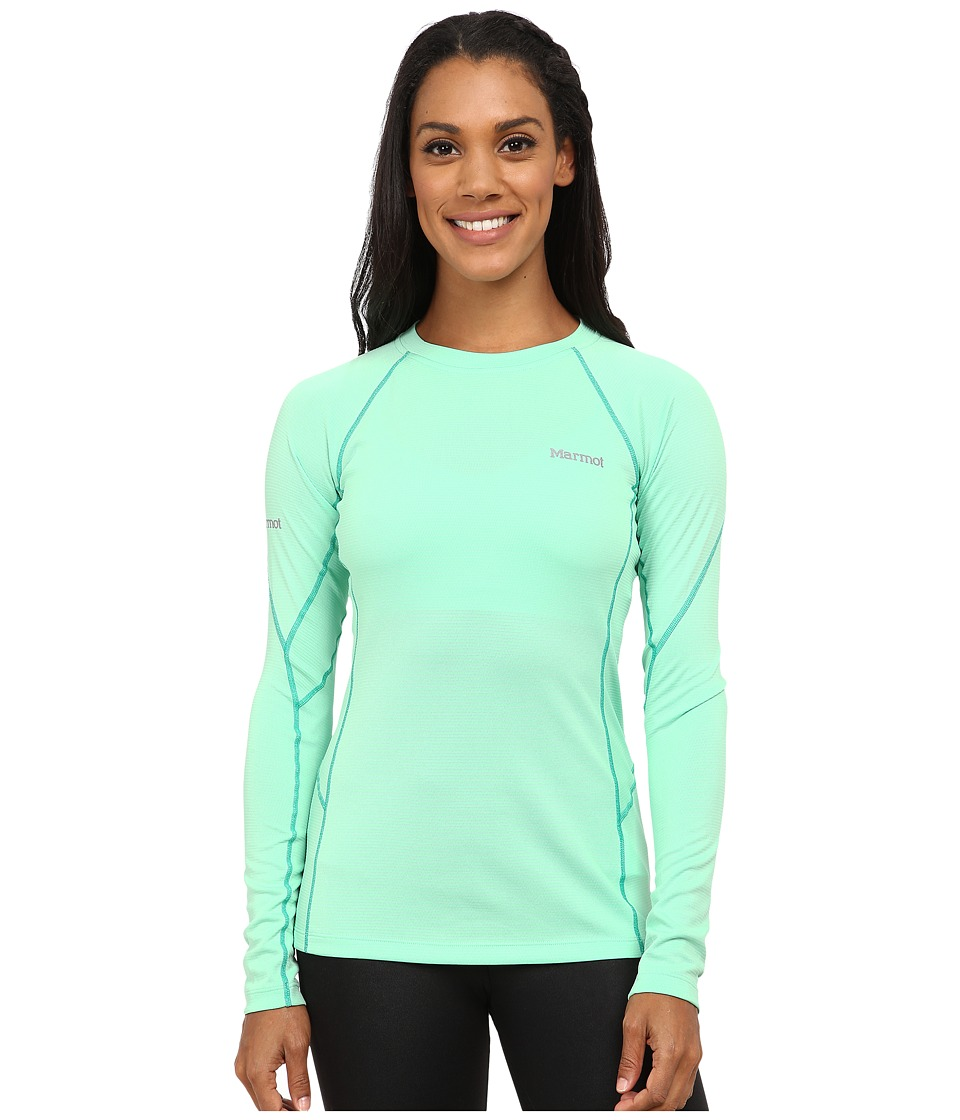 Marmot - ThermalClime Sport L/S Crew (Green Frost) Women's Long Sleeve Pullover