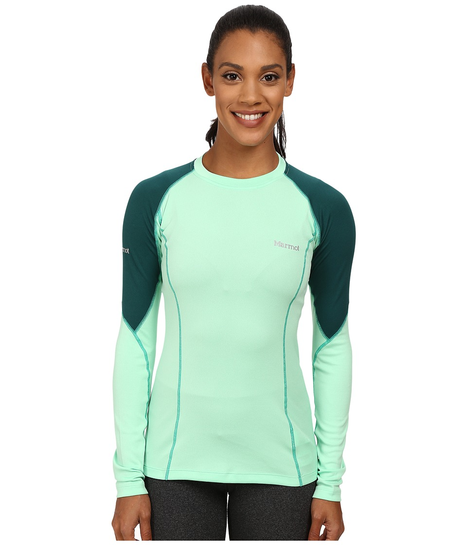 Marmot - ThermalClime Pro L/S Crew (Green Frost/Gator) Women's T Shirt