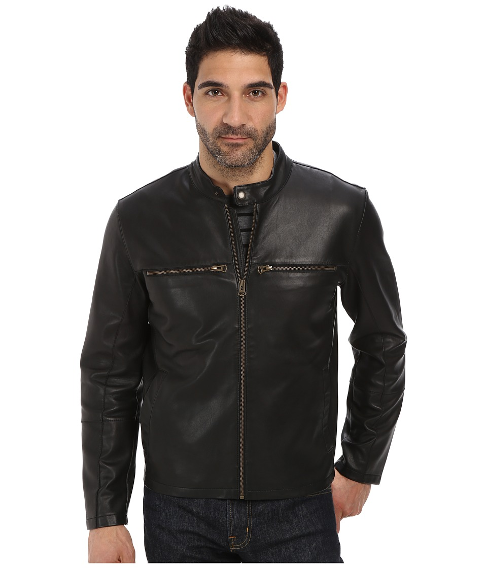 Cole Haan - Bonded Leather Moto Jacket with Raw Edges (Black) Men's Coat