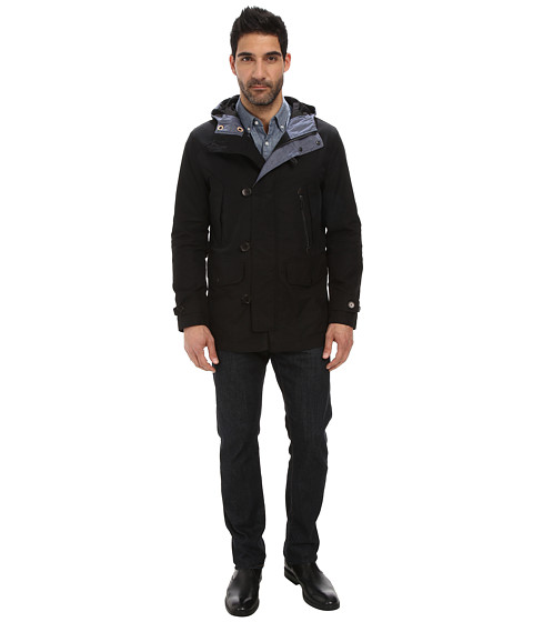 Cole Haan - Cotton Twill Hooded Jacket with Leather Trim (Black) Men's Coat