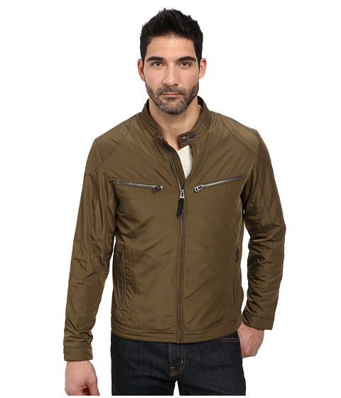 Cole Haan - Lightweight Packable Moto Jacket with Camo Lining (Olive) Men