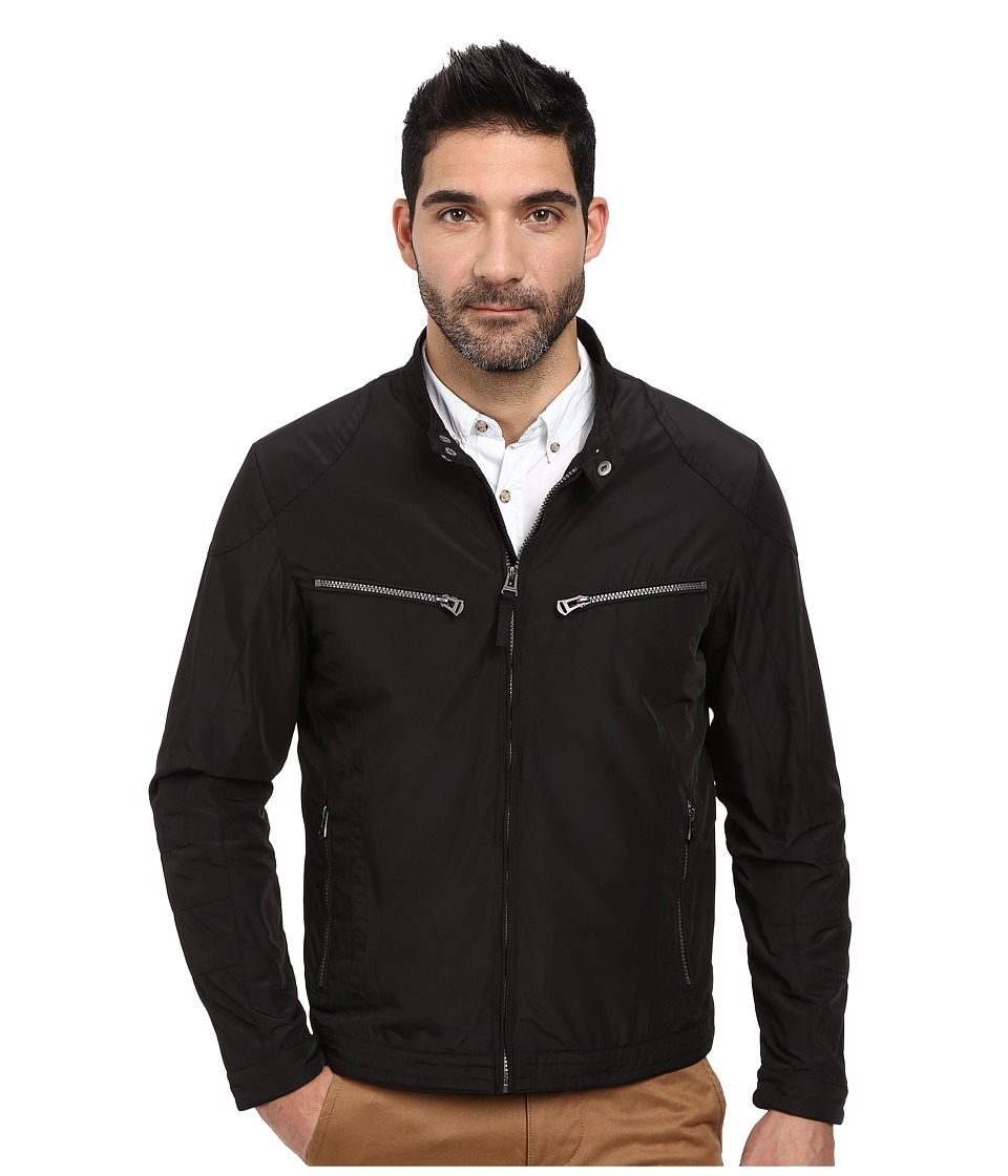 Cole Haan - Lightweight Packable Moto Jacket with Camo Lining (Black) Men's Coat