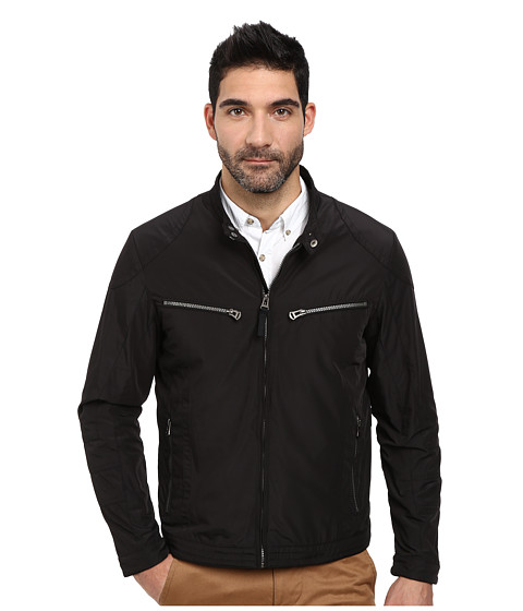 Cole Haan - Lightweight Packable Moto Jacket with Camo Lining (Black) Men