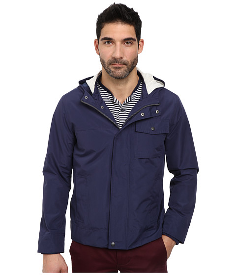 Cole Haan - Nylon Jacket with Double Hood with Nautical Lining (Blue) Men's Coat