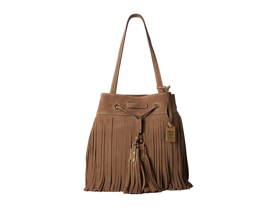 Frye - Heidi Fringe Bucket (Grey) Shoulder Handbags