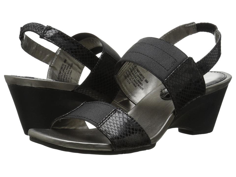 Womens Bandolino Comforte Sandals Black/Black Fabric RUD53511