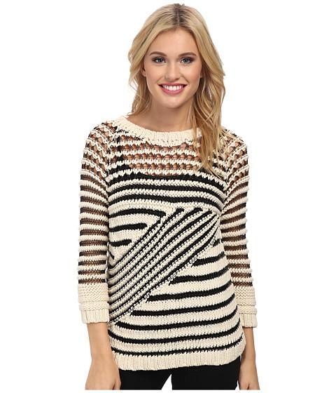 Sam Edelman - Novelty Mixed Lurex Pullover (Ivory/Black) Women's Sweater