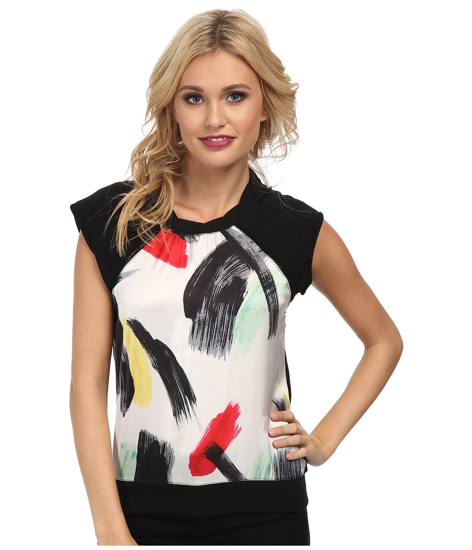 Sam Edelman - Embellished Front Raglan Back Zip Sweatshirt (Brush Stroke) Women's Short Sleeve Pullover