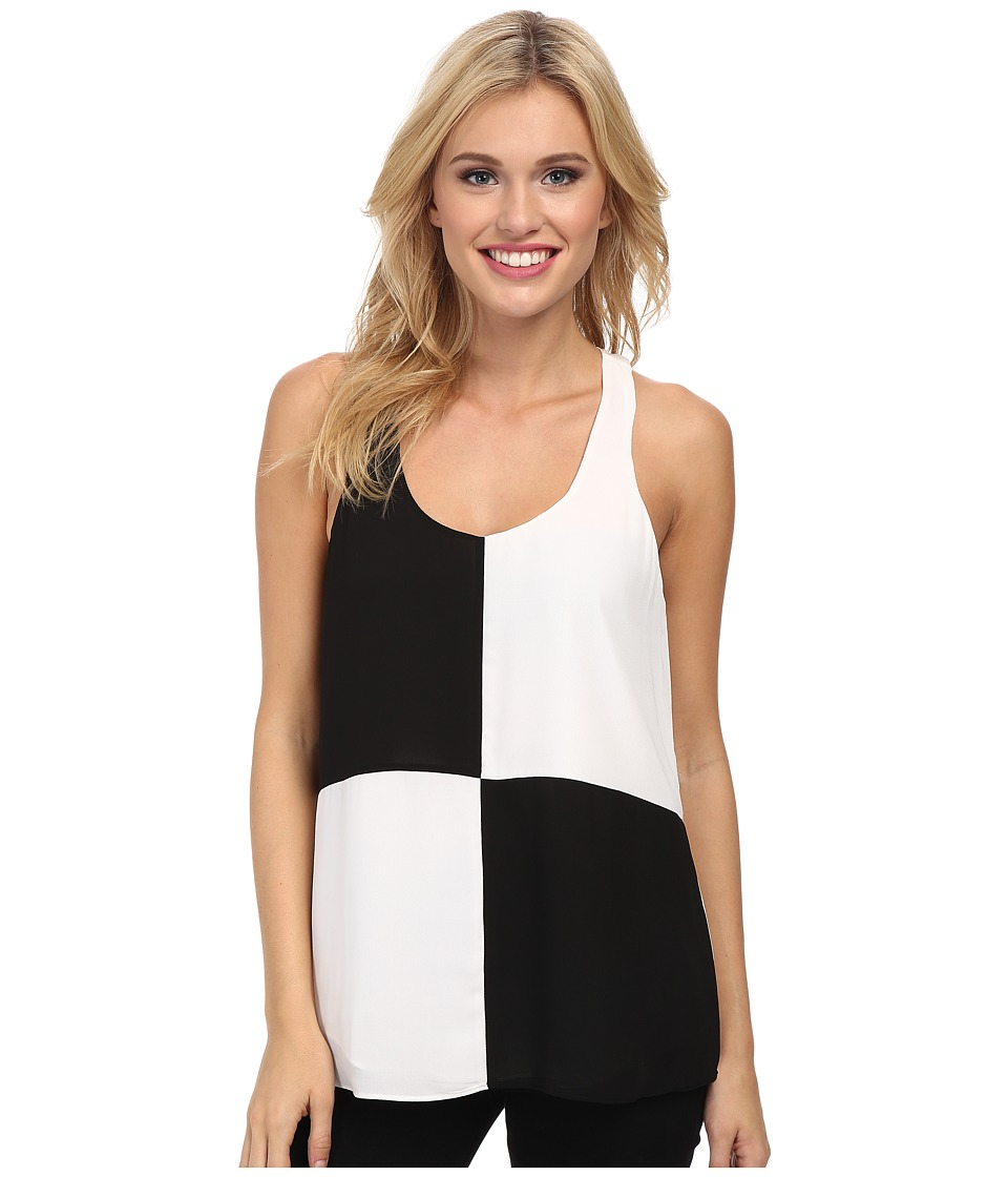 Sam Edelman - Fabric Blocked Razor Back Tank Top (Black/White) Women's Sleeveless