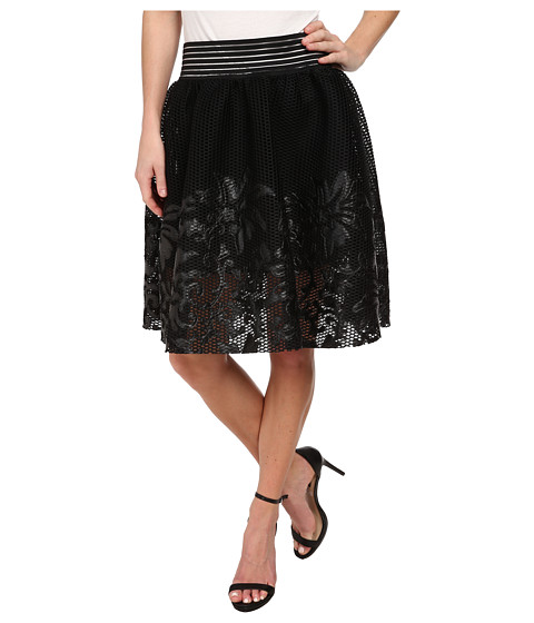 Sam Edelman - Mesh w/ Floral Applique Skirt (Black) Women's Skirt