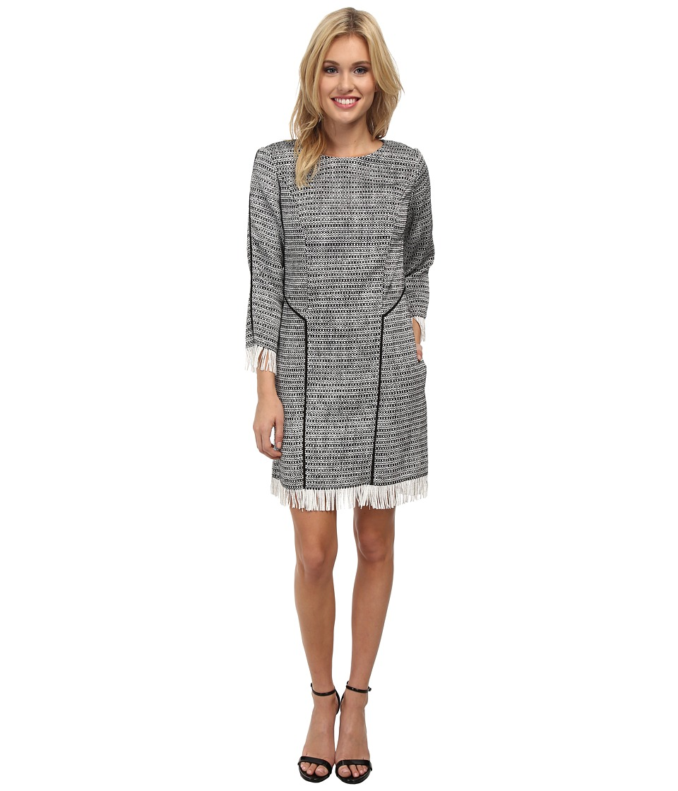Sam Edelman 3/4 Sleeve Shift Dress (Black/White) Women