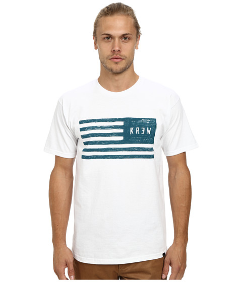 KR3W - Sketch Flag Tee (White) Men's Short Sleeve Pullover