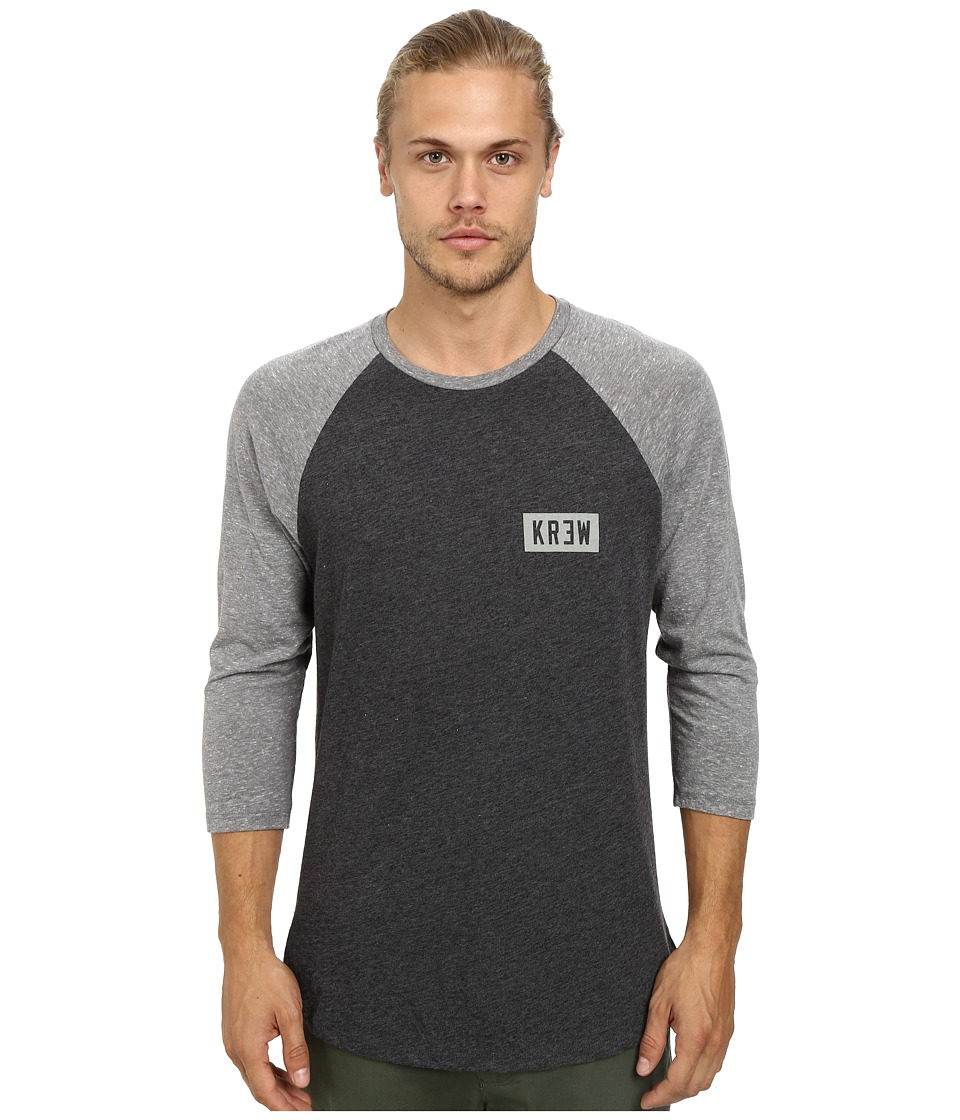 KR3W - Locker Box Raglan Top (Charcoal Heather/Grey Heather) Men's Short Sleeve Pullover