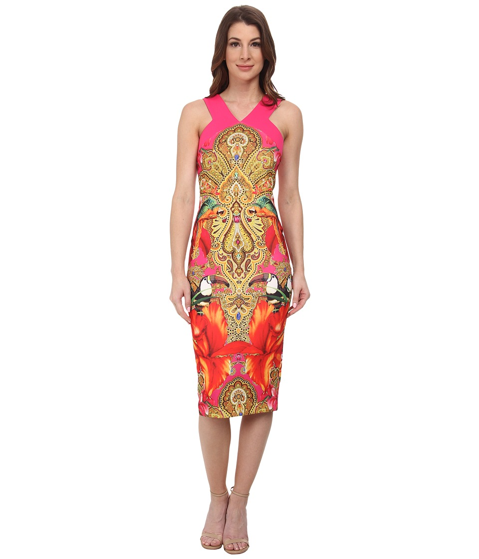 Ted Baker - Valeena Paisley Toucan Cross Back (Bright Pink) Women's Dress