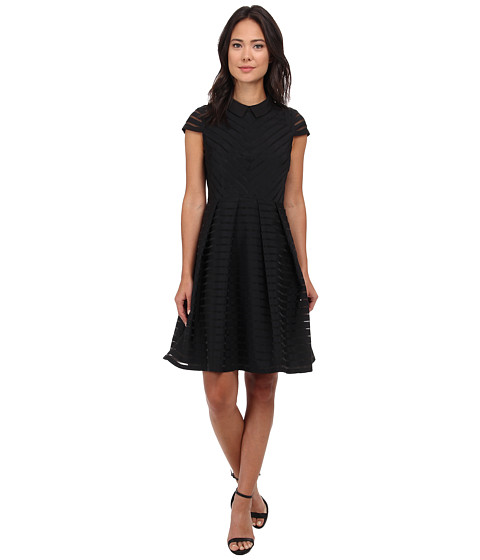 Ted Baker - Elnor Burn Out Stripe Shirt Dress (Black) Women's Dress