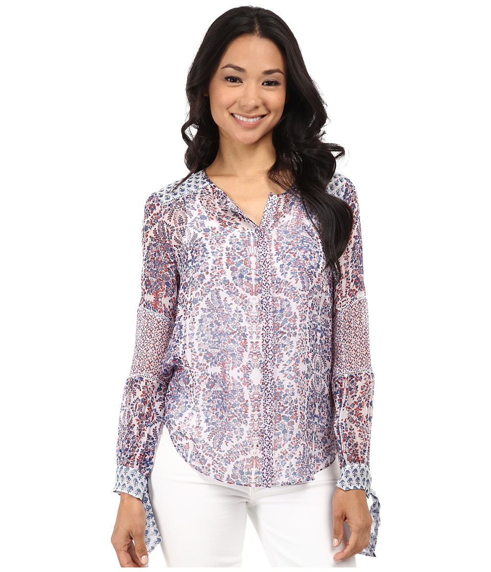 Rebecca Taylor - Long Sleeve Paisley Top (Admiral) Women's Clothing