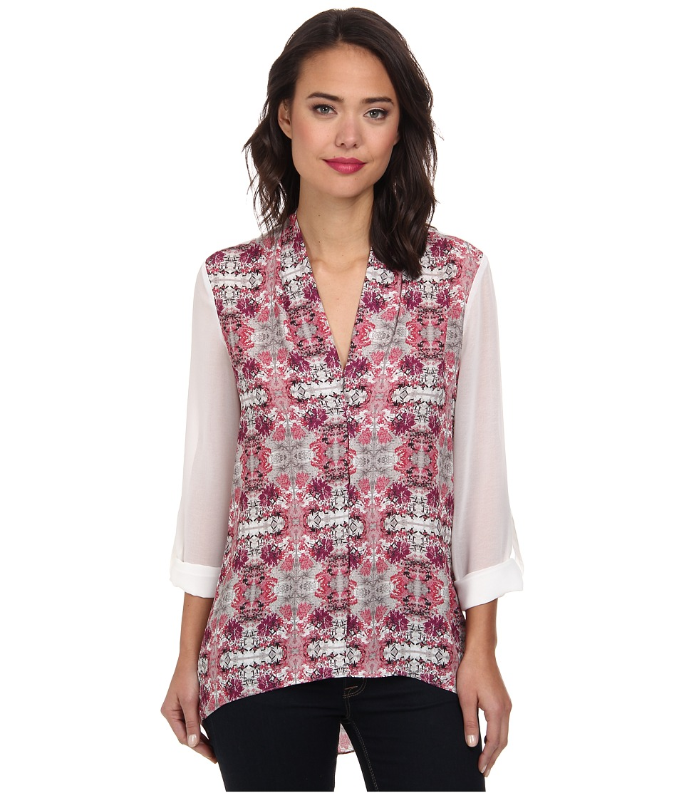 Brigitte Bailey - Hi-Lo V-Neck Tunic w/ Sheer Sleeves (Cherry Blossom/White) Women's Clothing