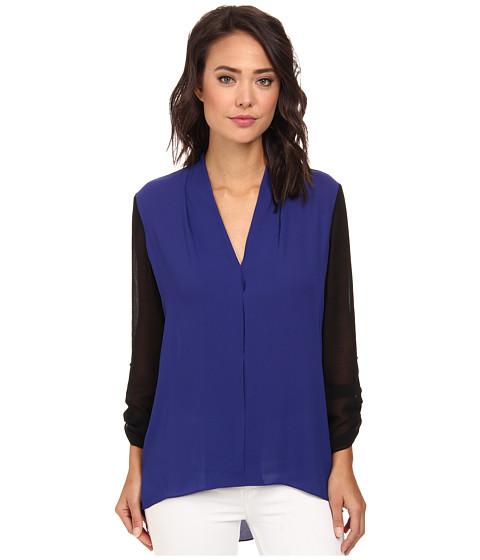Brigitte Bailey - Hi-Lo V-Neck Tunic w/ Sheer Sleeves (Cobalt/Black) Women's Clothing