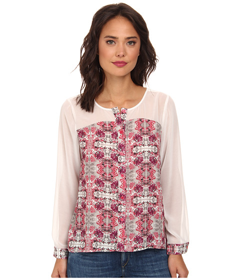 Brigitte Bailey - Long Sleeve Button Front Hi-Lo Top w/ Sheer Sleeves and Yoke (Cherry Blossom/White) Women's Clothing