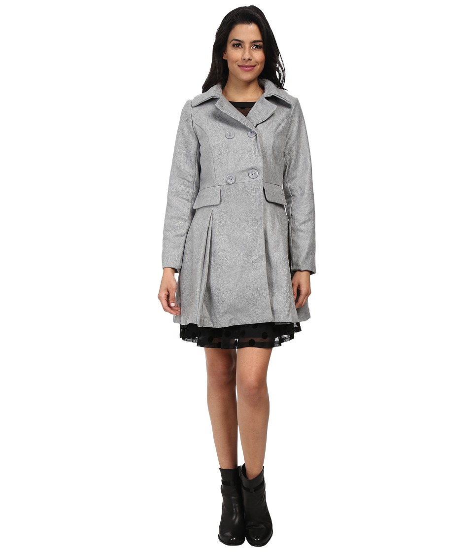 Brigitte Bailey - Double Breasted Jacket with Flap Pockets (Grey) Women's Jacket