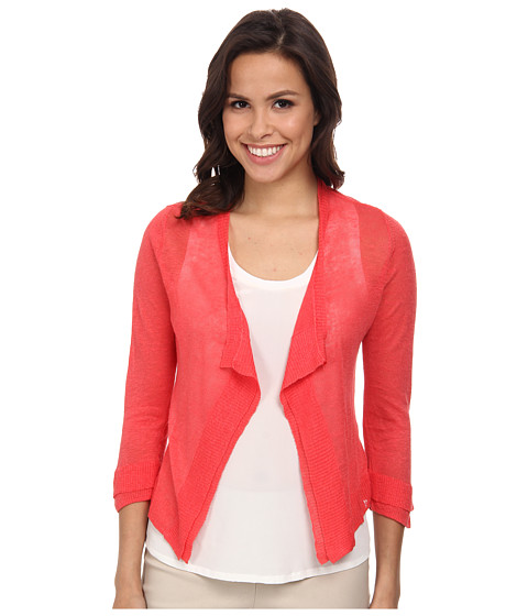 NIC+ZOE - Double Trim Cardy (Dragonfruit) Women's Sweater