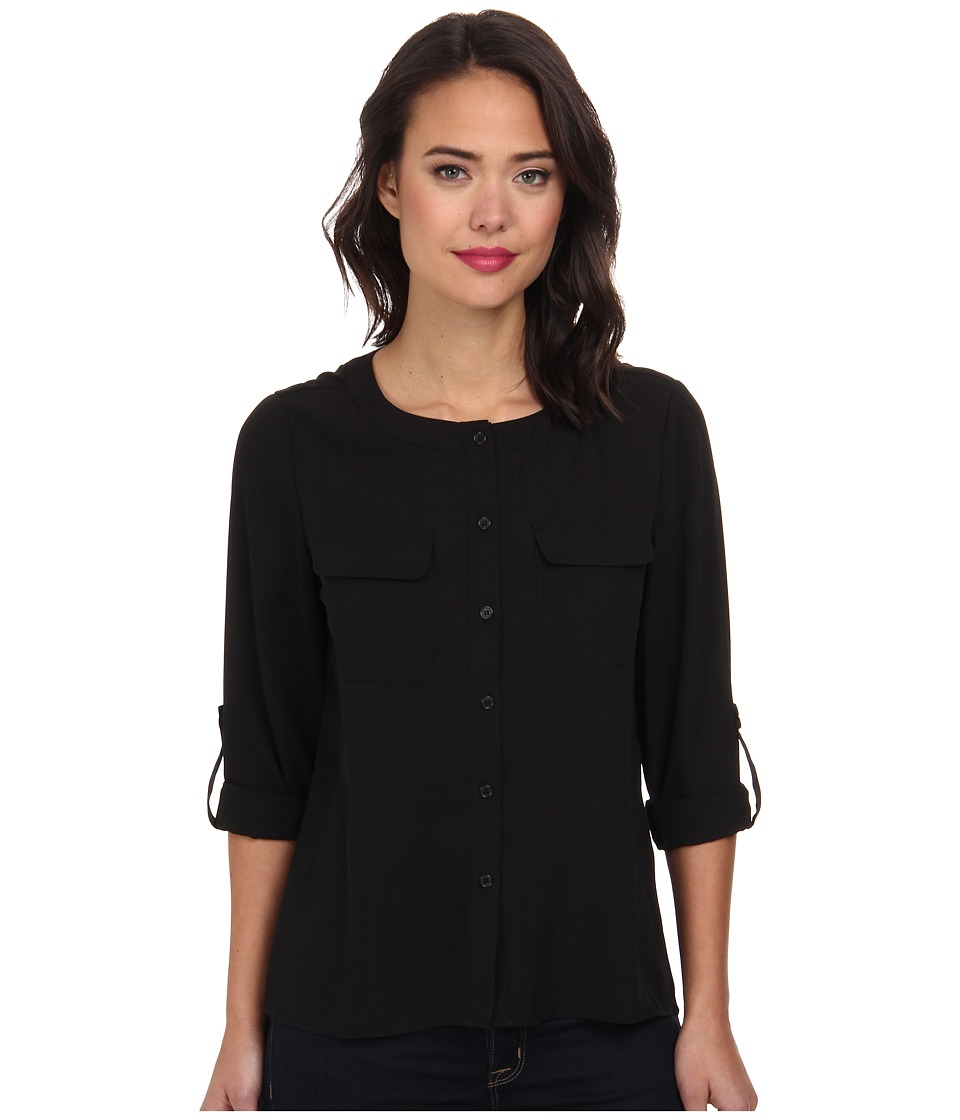 Brigitte Bailey - Classic Long Sleeve Roll Tab Two-Pocket Top (Black) Women's Long Sleeve Button Up