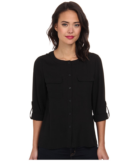Brigitte Bailey - Classic Long Sleeve Roll Tab Two-Pocket Top (Black) Women