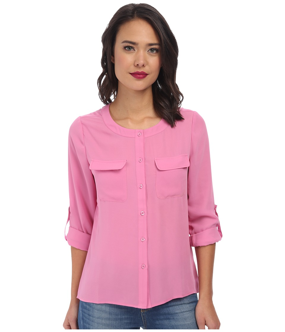 Brigitte Bailey - Classic Long Sleeve Roll Tab Two-Pocket Top (Pink) Women's Long Sleeve Button Up