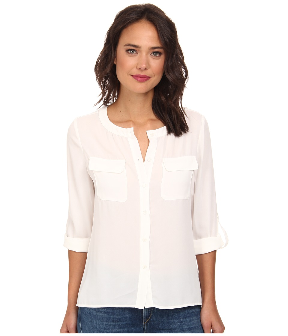 Brigitte Bailey - Classic Long Sleeve Roll Tab Two-Pocket Top (White) Women