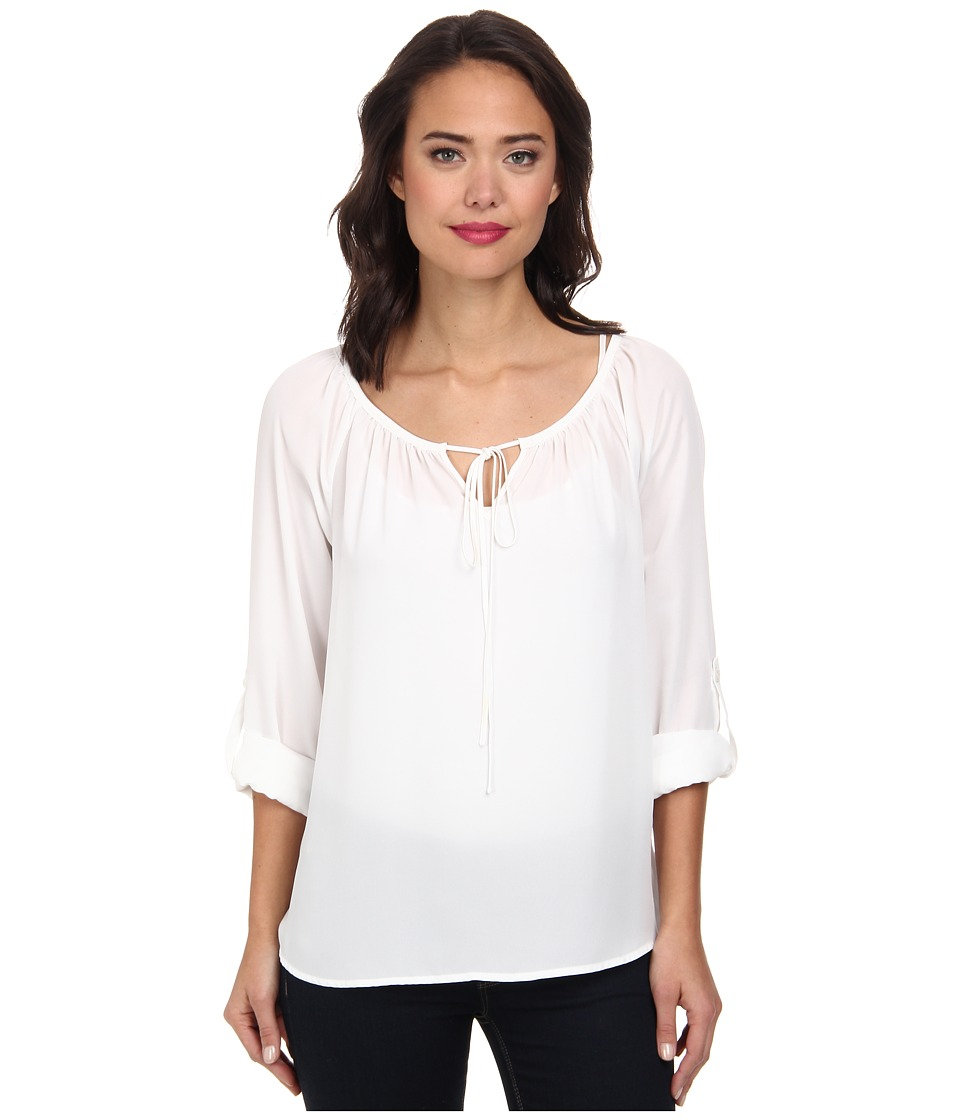 Christin Michaels - Long Sleeve Roll Tab Peasant Top (White) Women's Blouse plus size,  plus size fashion plus size appare