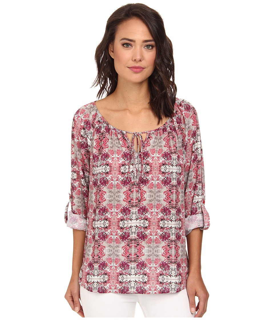 Christin Michaels - Long Sleeve Roll Tab Peasant Top (Cherry Blossom) Women's Blouse