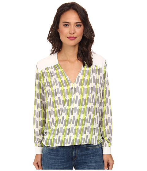 Christin Michaels - Twist Top w/ Contrast Yoke Cuffs (Archery/White) Women's Blouse