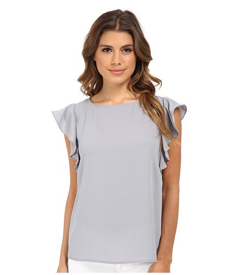 Gabriella Rocha - Boat Neck Top w/ Ruffle Sleeves (Grey) Women's Clothing