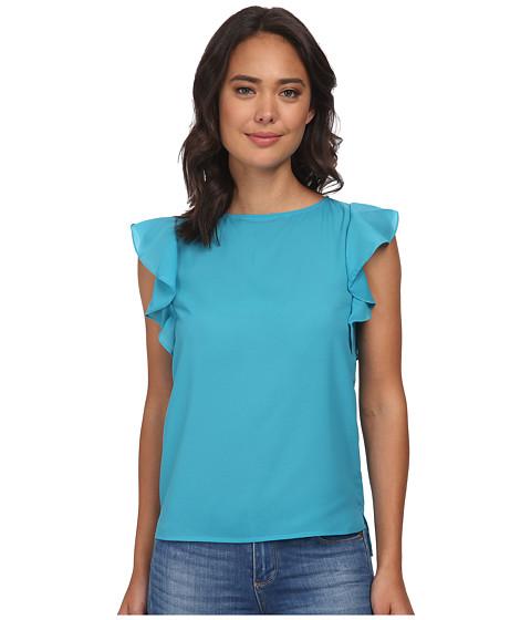 Gabriella Rocha - Boat Neck Top w/ Ruffle Sleeves (Aqua) Women's Clothing