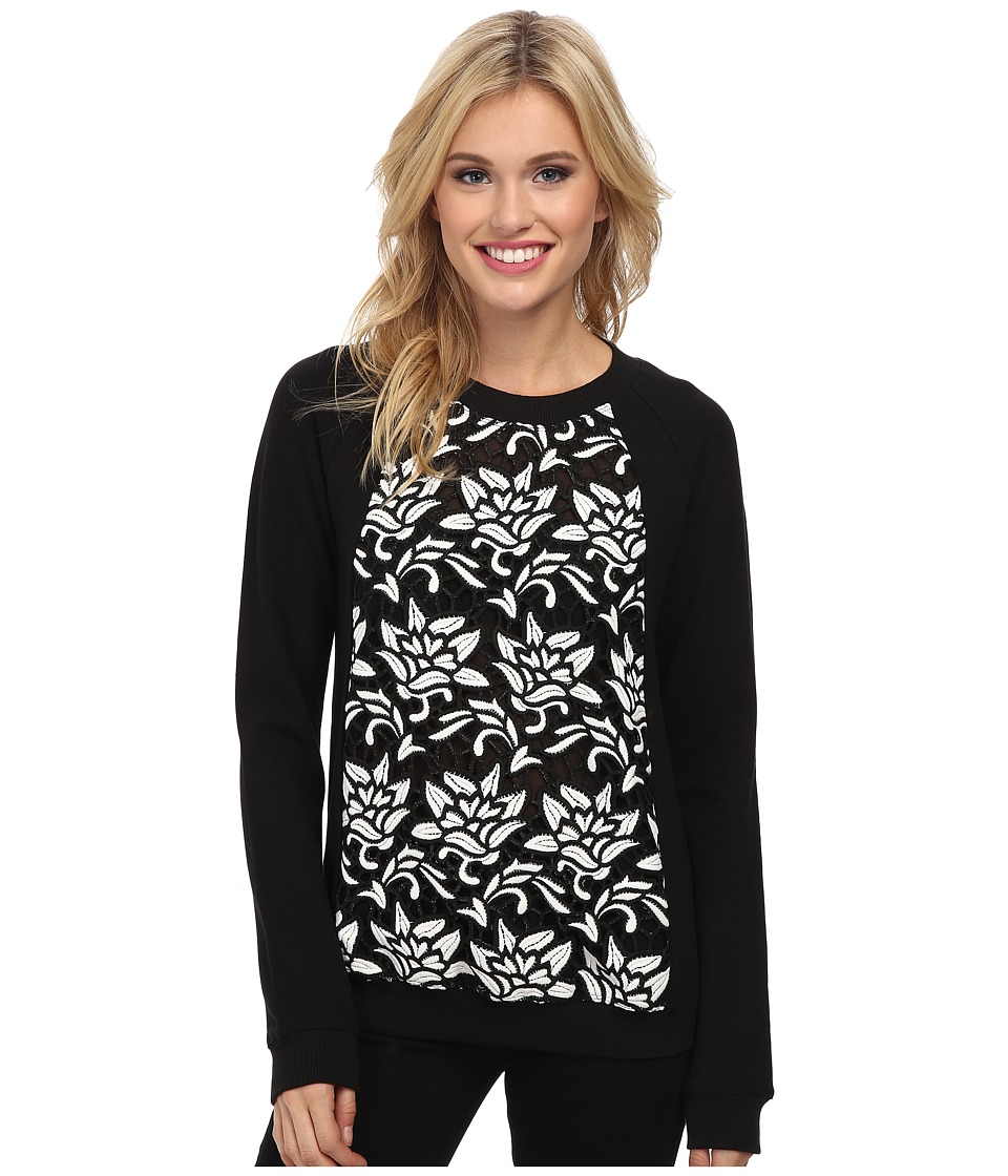 Sam Edelman Fabric Mix Raglan Sweatshirt (Black) Women