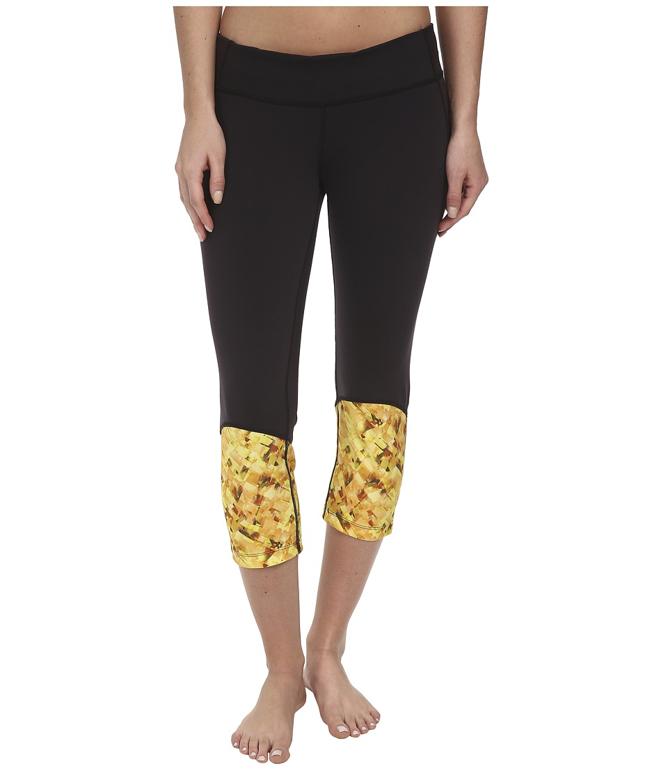 COZY ORANGE - Hanna Crops (Raven Black/Ice Cube Yellow) Women's Workout