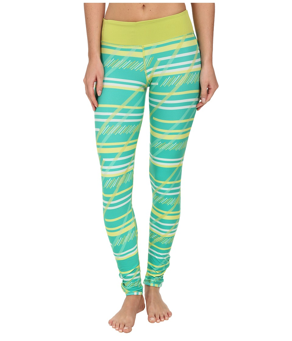 COZY ORANGE - Dharma Leggings (Serenity Stripe Green/Chartreuse) Women's Workout