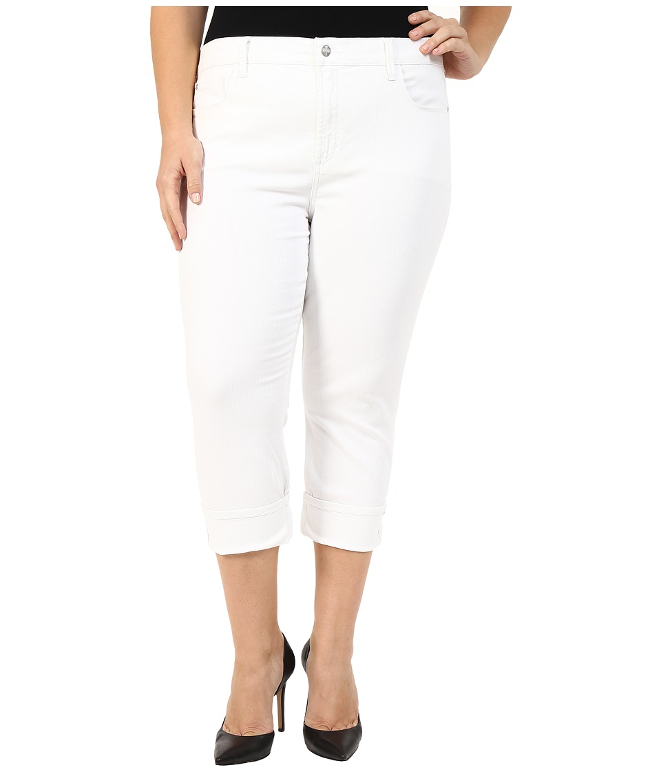 NYDJ Plus Size - Plus Size Dayla Wide Cuffed Capri (Optic White) Women's Capri