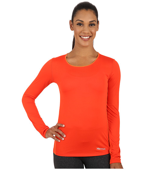 Marmot - Essential Long Sleeve (Coral Sunset/Bright Orange) Women's Long Sleeve Pullover