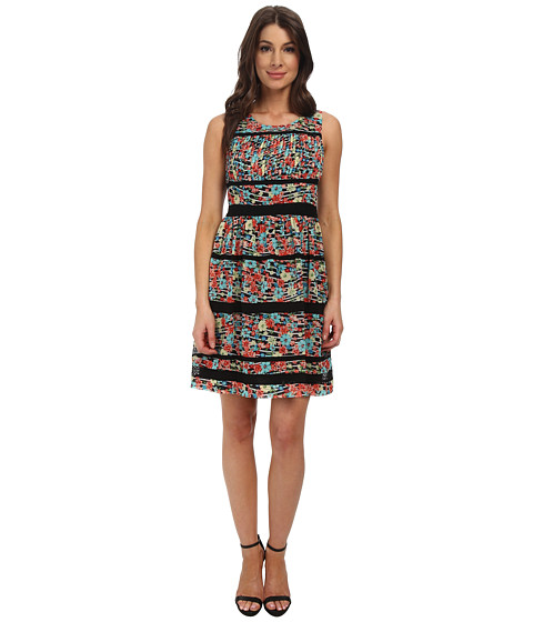 Jessica Simpson - Floral Printed Chiffon Dress (Print) Women's Dress