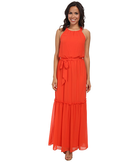 Jessica Simpson - Halter Maxi w/ Pleated Detail (Cherry) Women