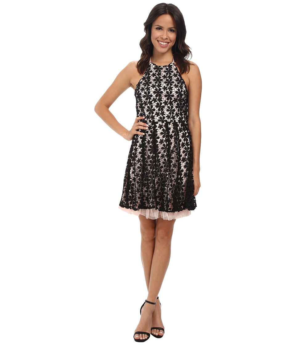 Jessica Simpson - Black Floral Lace Overlay Dress (Black/Pink) Women's Dress