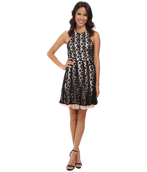 Jessica Simpson - Black Floral Lace Overlay Dress (Black/Pink) Women